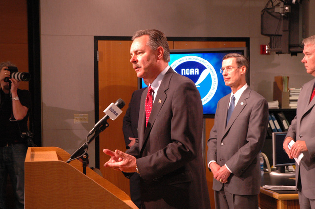 Miami, Fla., May 22, 2006 -- FEMA's Acting Director, R. David Paulison makes remarks  at NOAA's National Hurricane Center in Miami to kick off Hurricane Awareness Week before the start of the 2006 hurricane season.  Photo by Billy Wagner, Monroe County EM