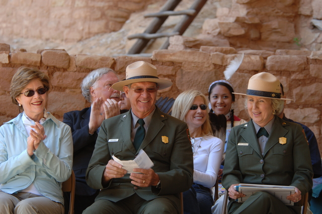 [Assignment: 48-DPA-N_Sc_Bush_CO] Visit of Acting Secretary P. Lynn Scarlett to [Mesa Verde National Park], Colorado, where she joined First Lady Laura Bush, National Park Service [Director Fran Mainella, Mesa Verde Superintendent Larry Wiese, and other dignitaries for speeches, tours marking the Park's 100th anniversary] [48-DPA-N_Sc_Bush_CO_DOI_5934.JPG]