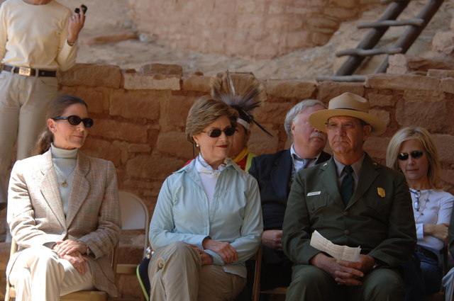 [Assignment: 48-DPA-N_Sc_Bush_CO] Visit of Acting Secretary P. Lynn Scarlett to [Mesa Verde National Park], Colorado, where she joined First Lady Laura Bush, National Park Service [Director Fran Mainella, Mesa Verde Superintendent Larry Wiese, and other dignitaries for speeches, tours marking the Park's 100th anniversary] [48-DPA-N_Sc_Bush_CO_DOI_5910.JPG]