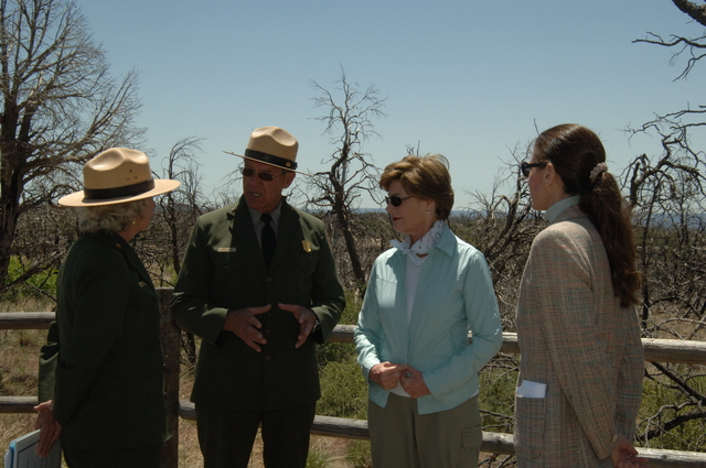 [Assignment: 48-DPA-N_Sc_Bush_CO] Visit of Acting Secretary P. Lynn Scarlett to [Mesa Verde National Park], Colorado, where she joined First Lady Laura Bush, National Park Service [Director Fran Mainella, Mesa Verde Superintendent Larry Wiese, and other dignitaries for speeches, tours marking the Park's 100th anniversary] [48-DPA-N_Sc_Bush_CO_DSC_0805.JPG]