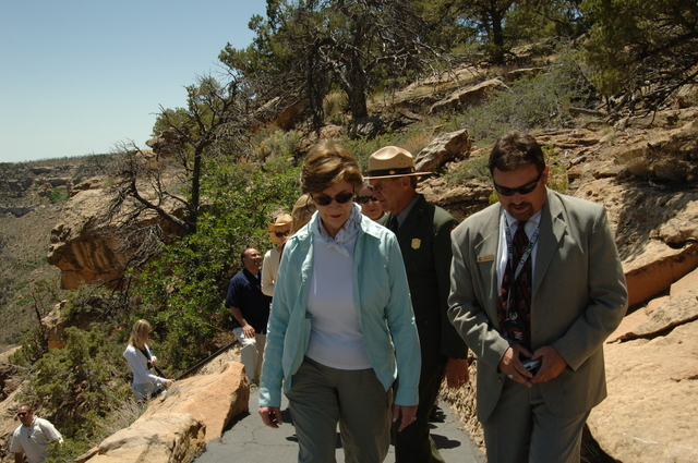 [Assignment: 48-DPA-N_Sc_Bush_CO] Visit of Acting Secretary P. Lynn Scarlett to [Mesa Verde National Park], Colorado, where she joined First Lady Laura Bush, National Park Service [Director Fran Mainella, Mesa Verde Superintendent Larry Wiese, and other dignitaries for speeches, tours marking the Park's 100th anniversary] [48-DPA-N_Sc_Bush_CO_DSC_1037.JPG]