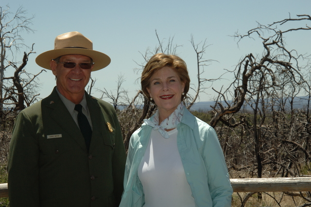 [Assignment: 48-DPA-N_Sc_Bush_CO] Visit of Acting Secretary P. Lynn Scarlett to [Mesa Verde National Park], Colorado, where she joined First Lady Laura Bush, National Park Service [Director Fran Mainella, Mesa Verde Superintendent Larry Wiese, and other dignitaries for speeches, tours marking the Park's 100th anniversary] [48-DPA-N_Sc_Bush_CO_DSC_0797.JPG]