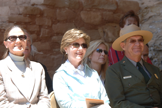 [Assignment: 48-DPA-N_Sc_Bush_CO] Visit of Acting Secretary P. Lynn Scarlett to [Mesa Verde National Park], Colorado, where she joined First Lady Laura Bush, National Park Service [Director Fran Mainella, Mesa Verde Superintendent Larry Wiese, and other dignitaries for speeches, tours marking the Park's 100th anniversary] [48-DPA-N_Sc_Bush_CO_DOI_5864.JPG]