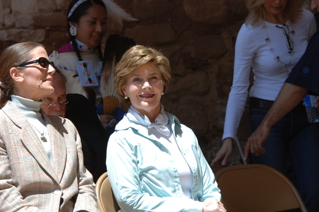 [Assignment: 48-DPA-N_Sc_Bush_CO] Visit of Acting Secretary P. Lynn Scarlett to [Mesa Verde National Park], Colorado, where she joined First Lady Laura Bush, National Park Service [Director Fran Mainella, Mesa Verde Superintendent Larry Wiese, and other dignitaries for speeches, tours marking the Park's 100th anniversary] [48-DPA-N_Sc_Bush_CO_DOI_5849.JPG]