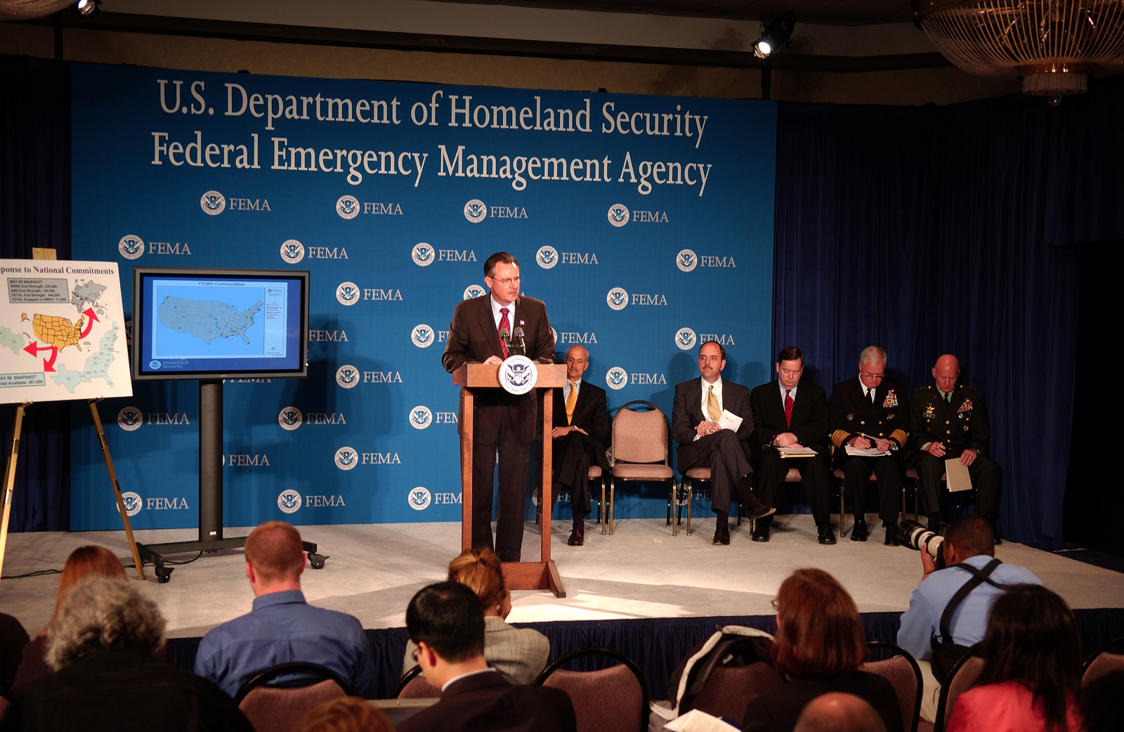 Washington, DC, May 23, 2006 -- Acting FEMA Director David Paulison (at Podium), (l-r)Secretary fo the Department of Homeland Security Michael Chertoff, Under Secretary for Preparedness George Foresman, Assistant Secretary of Defense Paul McHale, Admiral Timothy Keating and Lt. General Steven Blum participate in a press briefing on preparations for the 2006 hurricane season.  FEMA/Bill Koplitz
