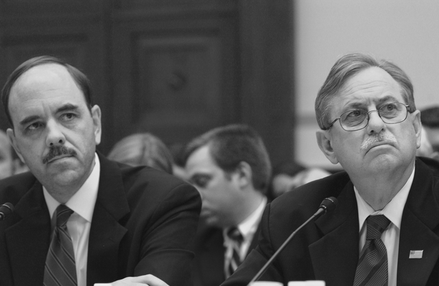 Washington D.C., 5/24/2006 -- DHS Under Secretary for Preparedness, George Foresman and FEMA Acting Director of Operations, Bob Shea, testify before the House Government Reform Committee on preparations for the 2006 hurricane season.  Andrea Booher/FEMA