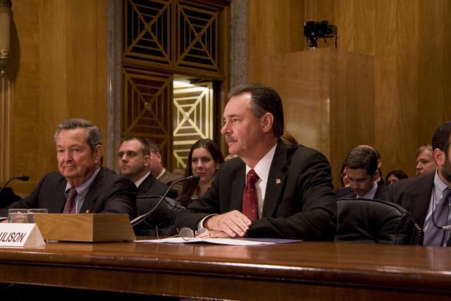 Washington, DC, May 24, 2006 -- R. David Paulison answers a question at his confirmation hearing for the FEMA Director Position.  FEMA/Bill Koplitz
