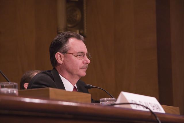Washington, DC, May 24, 2006 -- R. David Paulison listens to a question at his confirmation hearing for the FEMA Director position.  FEMA/Bill Koplitz