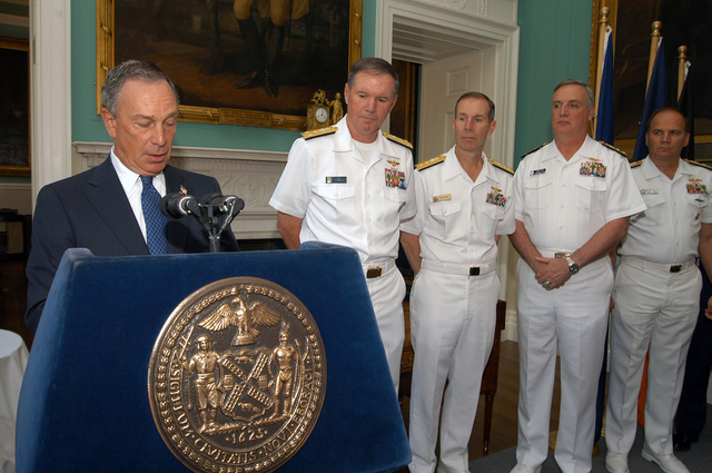 New York City Mayor, The Honorable Michael Bloomberg (foreground), welcomes US Navy (USN) Commander and sea services personnel to New York City, during Fleet Week 2006 activities. Pictured left-to-right are: USN Vice Admiral (VADM) Mark Fitzgerald, Commander, Second Fleet; USN Rear Admiral (RADM) Frederic Reuhe, Commander, Navy Region Mid-Atlantic; USN RADM Gary Hall, Commander Amphibious Group Two (COMPHIBGRU TWO), and USN RADM Mark Kenny, Commander, Center for Submarine Counter-terrorism Operations