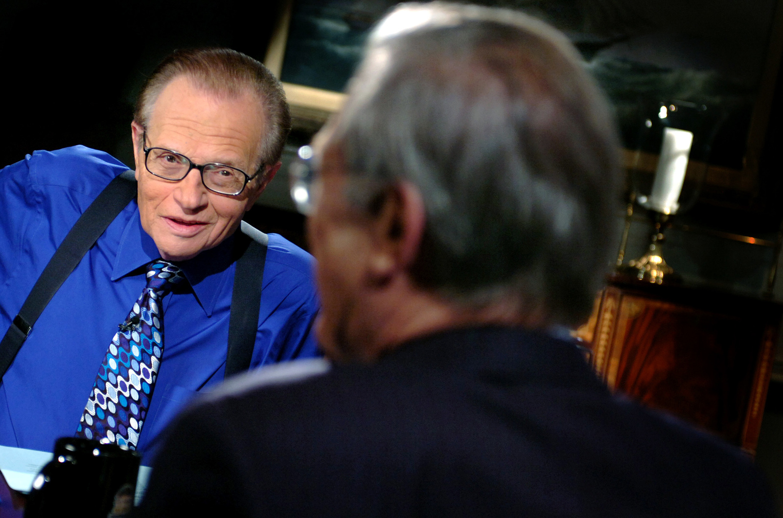 TV show host Larry King, interviews The Honorable Donald H. Rumsfeld  (left), U.S. Secretary of Defense,