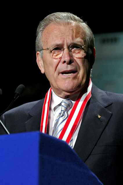 The Honorable Donald H. Rumsfeld, U.S. Secretary of Defense, speaks after receiving the Golden Buffalo Award, the Boy Scouts highest commendation, during the national annual meeting of the Boy Scouts at the Marriott Wardman Park, Washington, D.C., on May 25, 2006. (DoD photo by PETTY Officer 1ST Class Chad J. McNeeley) (Released)