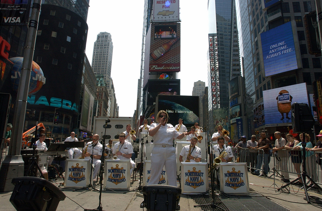 The US Navy (USN) Show Band of the Northeast performs in Times Square during Fleet Week New York 2006. Fleet Week includes dozens of military demonstrations and displays, including public tours to many of the participating ships