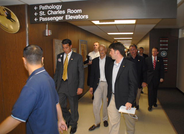 [Hurricane Katrina] New Orleans, LA, 05-30-06 -- Secretary of the U.S. Department of Homeland Security, Michael Chertoff, and FEMA Director David Paulison, tour the Touro Infirmary to see how the medical facility is prepared to deal with a hurricane.  Marvin Nauman/FEMA photo