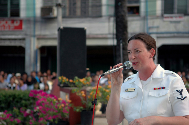 US Navy (USN) PETTY Officer Third Class (PO3) Rachel Lucterhan, a member of the USN Show Band, from the Military Sealift Command (MSC), Hospital Ship, USNS MERCY (T-AH 19), sings a solo during a performance in Zamboanga, Republic of the Philippines. This is one of the many services offered by the USNS MERCY during its five-month humanitarian deployment to South Asia, Southeast Asia and the Pacific Islands