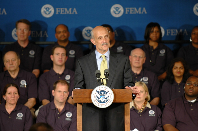 Washington, D.C., June 8,2006 -- The Secretary of The Department of Homeland Security, Michael Chertoff, addresses FEMA employees at the swearing in of David R. Paulison as the new Director of FEMA. Barry Bahler/FEMA