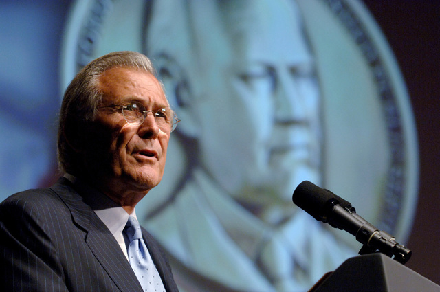 The Honorable Donald H. Rumsfeld, U.S. Secretary of Defense, speaks during the presentation ceremony of the Gerald R. Ford medal for Distinguished Public Service held at the National Archives in Washington, District of Columbia, on June 19, 2006. This award is presented to five U.S. military service members, each representing their respective service, in recognition for their outstanding public contributions that reflect the qualities demonstrated by President Ford during his public service career. These qualities are: strength of character, integrity, trustworthiness, fidelity to principles in decision making, sound judgment, decisiveness, determination, diligence, self-confidence...