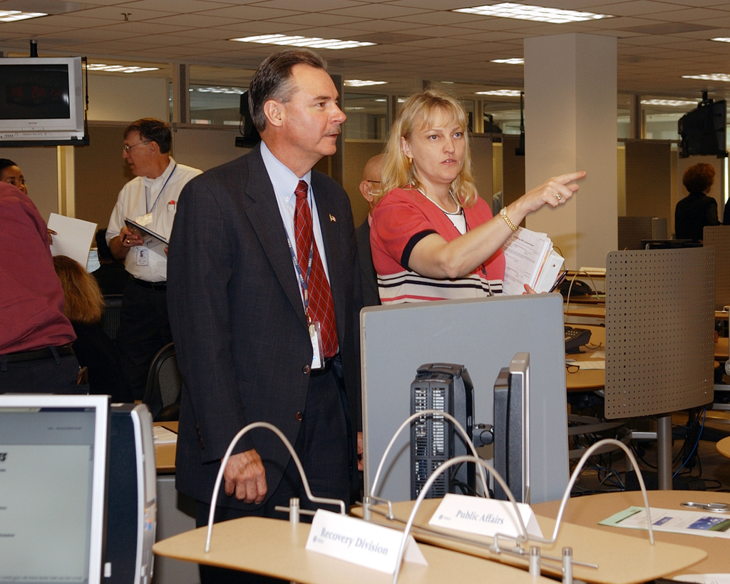 Virgina, June 21, 2006 -- R. David Paulison, Director of FEMA and Ann Buckingham, FEMA Deputy Director of the Office of National Security Coordination discuss the activities taking place during TOPOFF 4 Command Post Exercise (T4 CPX), in conjunction with FEMA's Forward Challenge O6 Exercise.  Government-wide agencies had an opportunity to activate their COOP plans during an evaluated, scenario-based exercise. FEMA/Karen Nutini