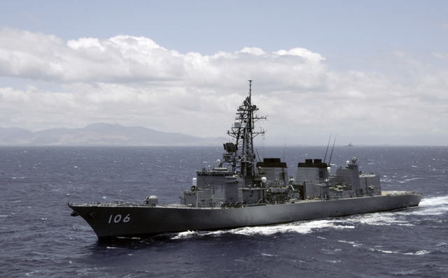 The Japan Maritime Self-Defense Force (JMSDF) destroyer, JDS SAMIDARE (DD 106), departs Naval Station (NS) Pearl Harbor, Hawaii (HI), to participate in Exercise Rim of the Pacific (RIMPAC) 2006. RIMPAC is an exercise designed to increase the tactical proficiency of participating units in a wide array of combined sea operations. RIMPAC 2006 brings together military forces from Australia (AUS), Canada (CAN), Chile (CHL), Peru (PER), Japan (JPN), the Republic of Korea (KOR), United Kingdom (UK) and the United States (US)