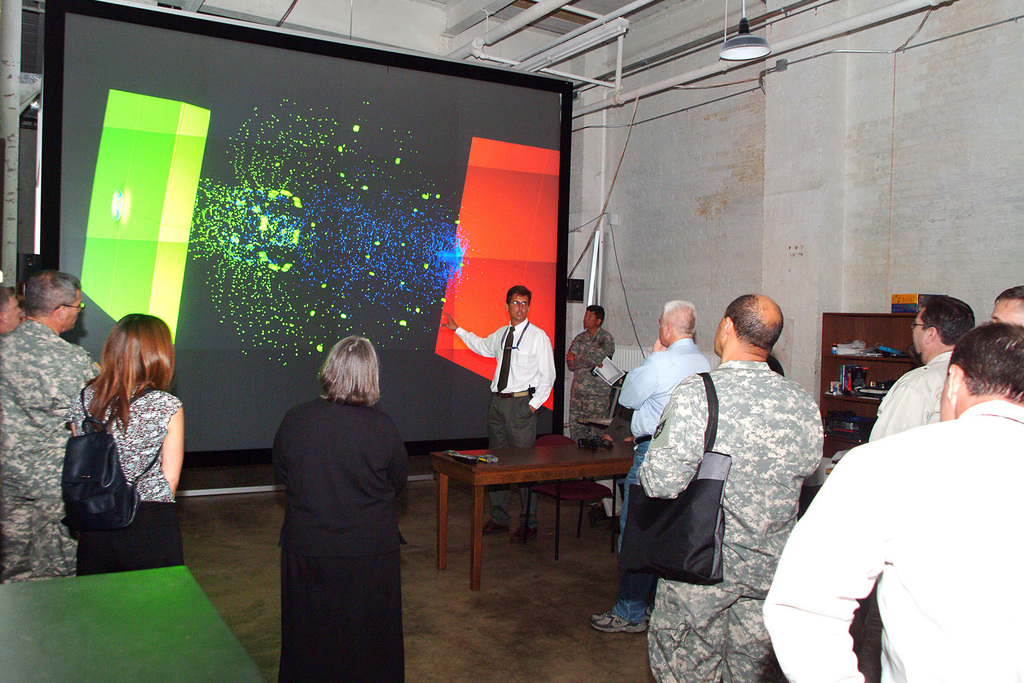 Each year members of the United States Military Academy (USMA) Electrical Engineering and Computer Science Group are invited to tour the Major Shared Resource Center and High Performance Computing capabilities in Aberdeen Maryland. The members see an impressive amount of research capabilities that are available for use by the West Point cadets. The host for the event was Mr. Charles Nietubicz, High Performance Computer Division. (U.S. Army PHOTO by Doug LaFon) (Released)