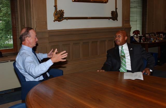 Secretary Alphonso Jackson with Governor Mitch Daniels - Secretary Alphonso Jackson meeting with Indiana Governor Mitch Daniels in Indianapolis, Indiana
