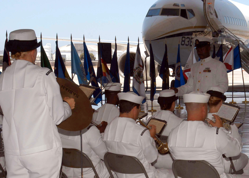 060722-N-7899V-001 (Jul. 22, 2006)The US Navy (USN) Band Southwest, play during a change of command ceremony for Fleet Logistics Squadron 57 (VR-57) at Naval Amphibious Base (NAB), Coronado, California (CA).U.S. Navy official photo by Mass Communication SPECIALIST Second Class Susan Van Veen (Released)