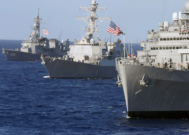 (From right-to-left), The US Navy (USN) Austin Class Amphibious Transport Dock USS DENVER (LPD 9), the USN Arleigh Burke Class Guided Missile Destroyer USS CHUNG-HOON (DDG 93), and the Japan Maritime Self-Defense Force (JMSDF) destroyer, JDS SAMIDARE (DD 106), sail in formation in the Pacific Ocean (POC) during Exercise Rim of the Pacific (RIMPAC) 2006. The exercise designed to increase the tactical proficiency of participating units in a wide array of combined sea operations. RIMPAC 2006 brings together military forces from Australia (AUS), Canada (CAN), Chile (CHL), Peru (PER), Japan (JPN), the Republic of Korea (KOR), United Kingdom (UK) and the United States (US)
