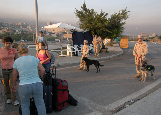 US Navy (USN) MASTER-at-Arms Third Class (MA3) Gina Pronzati (left), with her military working dog (MWD) Lucky, and USN MASTER-at-Arms Second Class (MA2) Mark Case (right), and MWD Benny, prepare to check a row of luggage belonging to US citizens during a security screening process prior to evacuation to Cyprus. At the request of the US Ambassador to Lebanon and at the direction of the Secretary of Defense (SECDEF), the United States Central Command (US CENTCOM) and elements of Task Force 59 are assisting with the evacuation of US citizens from Lebanon (LBN). Lebanon is under an Israeli attack in retaliation against Hezbollah guerillas, for a raid into northern Israel and the capture of...