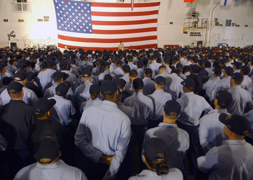 060801-N-6363M-003  (Aug. 1, 2006)Onboard the US Navy (USN) Nimitz Class Aircraft Carrier USS JOHN C. STENNIS (CVN 74), USN CHIEF of Naval Operations (CNO) Adm. Michael G. Mullen address Sailors on the current and future status of the Navy during an All Hands Call in the hangar bay, while in port at Naval Station Bermerton, Washington (WA).  The admiral is in the Northwest Region to visit bases, meet Sailors and celebrate the Seattle, Washington (WA) Seafair 2006 Festivities. U.S. Navy photo by Mass Communication SPECIALIST Third Class Philip V. Morrill (RELEASED)