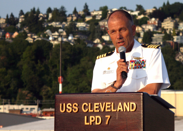 060803-N-7706C-007 (Aug. 3, 2006)US Navy (USN) CAPT. Frank McCulloch, Commanding Officer, Austin Class Amphibious Transport Dock USS CLEVELAND (LPD 7), addresses guests of the Commander 3rd Fleet reception as part of the 57th Annual Seattle Seafair, Seattle, Washington (WA).  The Seafair is a month-long traditional summer festival, which includes parades, amateur athletics, air shows and boat racing.  The Seafair honors past and present sacrifices and contributions made by our USN Sailors, US Marine Corps (USMC) Marines and US Coast Guard (USCG) Sailors.U.S. Navy official photo by Mass Communication SPECIALIST First Class Scott Comstock (RELEASED)