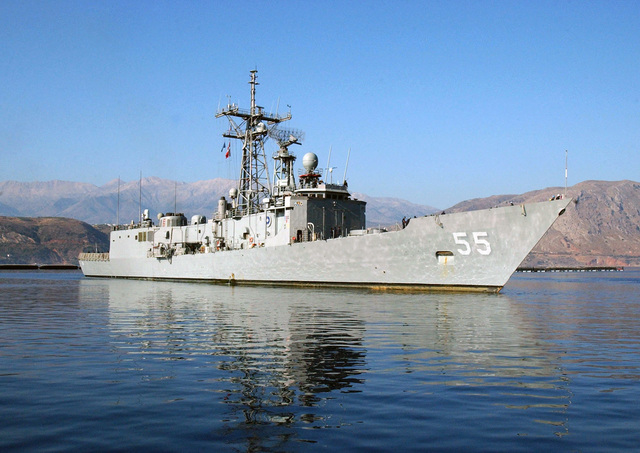 060804-N-0780F-002 (Aug. 4, 2006)The US Navy (USN) Oliver Hazard Perry Class Guided Missile Frigate USS ELROD (FFG 55), homeported in Norfolk, Virginia (VA), arrives in Souda Bay Harbor, Crete, Greece (GRC), for a brief port visit.  The ELROD is on a regularly scheduled deployment and currently assigned to the Standing NATO Response Force Maritime Group 2 (SNMG 2) in support of Operation ACTIVE ENDEAVOR.U.S. Navy official photo by Paul Farley (RELEASED)