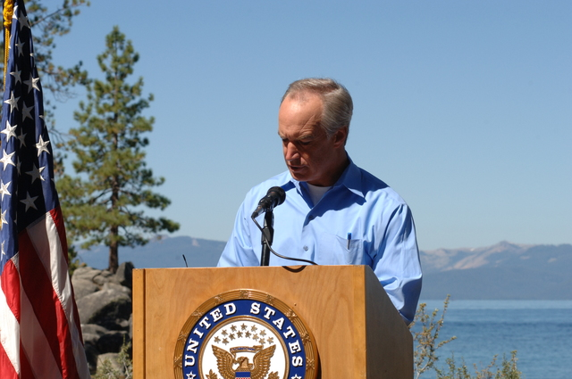 [Assignment: 48-DPA-SOI_K_Lake_T_8-10-06] Lake Tahoe Restoration Forum presentations at Nevada's [Sand Harbor State Park, including announcement by] Secretary Dirk Kempthorne [of the approval of more than $48 million for fuels reduction, forest health, watershed restoration, habitat improvement, water quality improvement, erosion control, adaptive management, and science and research projects aimed at protecting and restoring the Lake Tahoe Basin.]  [48-DPA-SOI_K_Lake_T_8-10-06_DOI_1580.JPG]