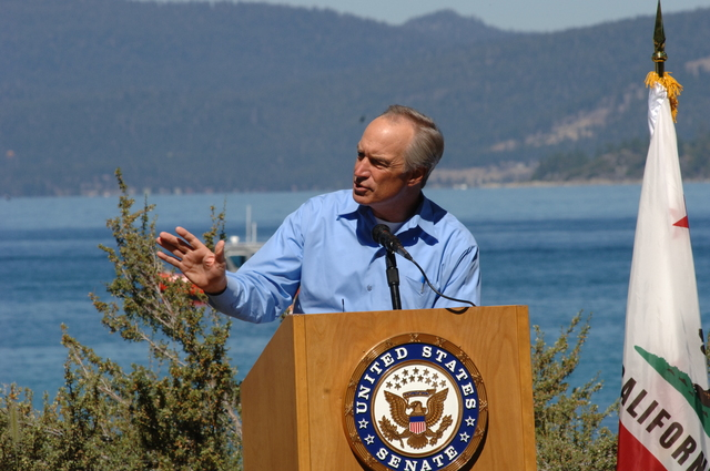 [Assignment: 48-DPA-SOI_K_Lake_T_8-10-06] Lake Tahoe Restoration Forum presentations at Nevada's [Sand Harbor State Park, including announcement by] Secretary Dirk Kempthorne [of the approval of more than $48 million for fuels reduction, forest health, watershed restoration, habitat improvement, water quality improvement, erosion control, adaptive management, and science and research projects aimed at protecting and restoring the Lake Tahoe Basin.]  [48-DPA-SOI_K_Lake_T_8-10-06_DOI_1570.JPG]