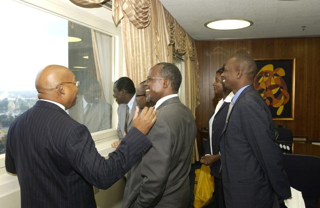 Secretary Alphonso Jackson with Kenyan Minister Musikari Kombo - Secretary Alphonso Jackson meeting with Kenya's Minister for Local Government, Musikari Kombo, at HUD Headquarters