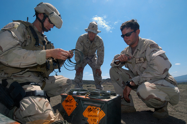 U.S. Marine Corps CPL. Justin Lefan, center, from 1ST Battalion, 23rd Marine Division, observes as U.S. Navy Explosives Ordnance Disposal SPECIALIST 2nd Class Corey Baughmann, left, measures timer fuse cords for Explosives Ordnance Disposal SPECIALIST 2nd Class Christopher Blount before a demolition training during Exercise Natural Fire at Nginyang, Kenya, on Aug. 10, 2006. The 10-day multi-lateral field training exercise involves military personnel from East African Community nations, U.S.-based units and Combined Joint Task Force-Horn of Africa. The exercise will focus on crisis response, military-to-military training and humanitarian events that include medical, veterinary and...