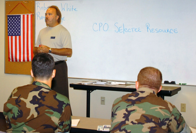 060811-N-1831S-083 (Aug. 11, 2006)Robert White (left), an instructor at Naval Station (NS) Norfolk Fleet and Family Support Center, Virginia (VA), teaches US Navy (USN) CHIEF PETTY Officer selectees about resource training. The class is designed to give the Sailors tools they'll need to be effective leaders.U.S. Navy official photo by Mass Communication SPECIALIST SEAMAN Apprentice Ash Severe (RELEASED)