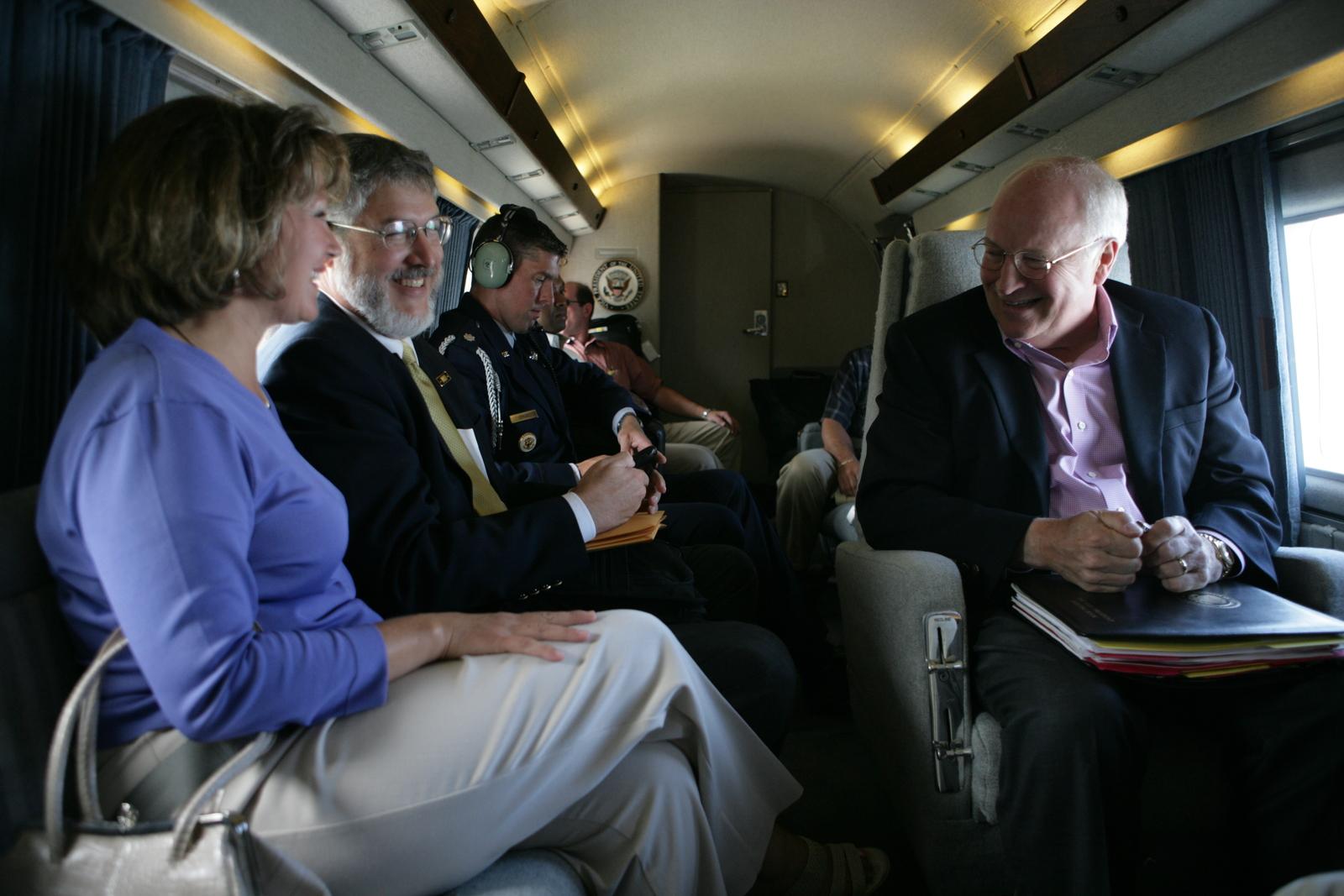 Vice President Cheney Talks with David and Cindy Addington Aboard Marine Two