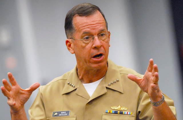 U.S. Navy CHIEF of Naval Operations (CNO) Adm. Mike Mullen gestures while answering questions during an All-Hands call in the auditorium at the Pentagon in Washington, D.C., on Aug. 23, 2006. Adm. Mullen took questions from senior leaders and he also discussed the current state and future of the Navy during the continuing Global War on Terrorism. (U.S. Navy photo by Mass Communication SPECIALIST 1ST Class Chad J. McNeeley) (Released)