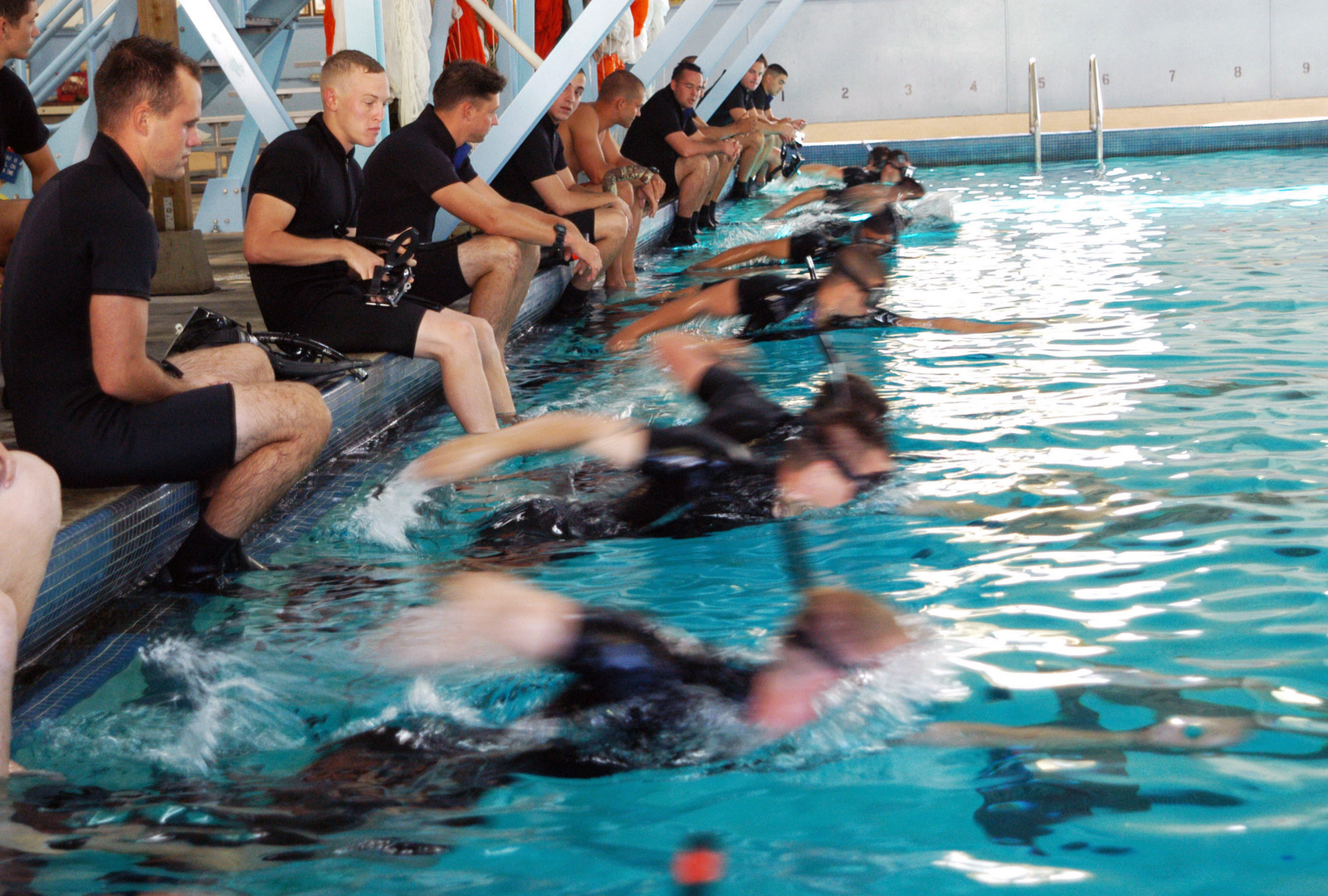 U S  Navy Search and Rescue swimmers from various commands in the