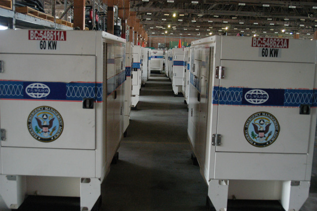 Atlanta, Ga., August 28, 2006 - At the FT. Gillem FEMA Logistics Center, 60 KW generators are ready to be loaded on trucks for delivery to prestaging areas in anticipation of a disaster.  George Armstrong/FEMA