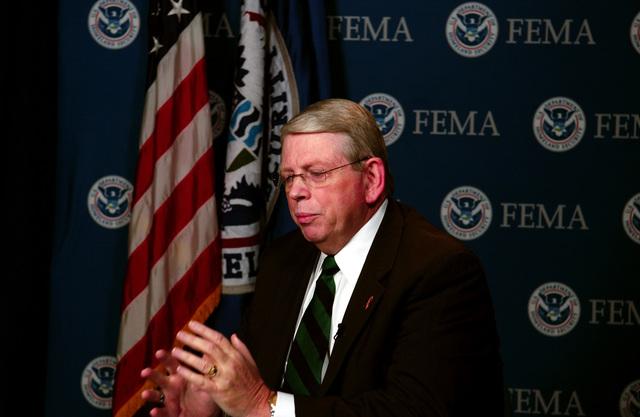 Washington, DC, August 29, 2006 - Glenn Cannon, FEMA's Director of Response answers an interview question for a reporter at the FEMA Video Studio.  FEMA/Bill Koplitz
