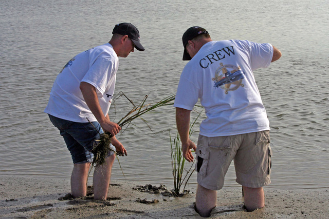 U.S. Navy Storekeeper SEAMAN Apprentice Andrew Johnson (left) and Storekeeper 2nd Class Troy Smith, both from the Virginia Class New Attack Submarine Pre-Commissioning Unit (PCU) TEXAS (SSN 775), plant marsh grass at Pierce Marsh, Hitchcock, Texas, on Sept. 6, 2006. The Sailors participated in a project sponsored by the Galveston Bay Foundation, Natural Restoration Conservation Services and Energy Company NRG to help restore 200 acres of eroded vegetation in the area. TEXAS will be commissioned on Sept. 9, 2006 at Galveston, Texas. (U.S. Navy photo by Mass Communication SPECIALIST 2nd Class Roadell Hickman) (Released)