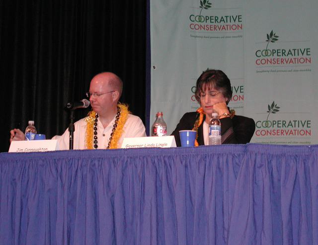 """[Assignment: 48-DPA-K_Hon_List_8-06] Cooperative Conservation public """"listening session"""" [at the Neal S. Blaisdell Center], Honolulu, Hawaii, [with Hawaii Governor Linda Lingle,  White House Council on Environmental Quality Chairman James Connaughton, White House Deputy Asistant for Domestic Policy Tevi Troy, Fish and Wildlife Service's Acting Pacific Regional Director Ren Lohoefener, and National Oceanic and Atmospheric Administration's National Marine Sanctuary Program Deputy Director Michael Weiss among the dignitaries on hand] [48-DPA-K_Hon_List_8-06_Conn_Lingle.jpg]"""