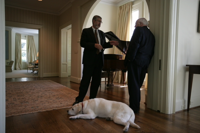 Vice President Cheney Talks with David Addington at the United States Naval Observatory