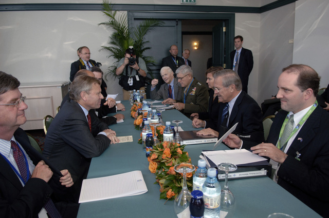 The Honorable Donald H. Rumsfeld, second from (right), U.S. Secretary of Defense, meets with North Atlantic Treaty Organization (NATO) Secretary General Jaap de Hoop Scheffer, sitting across Sec. Rumsfeld, during the NATO Defense Ministerial conference at Portoroz, Slovenia, on Sept. 27, 2006. (DoD photo by James M. Bowman) (Released)