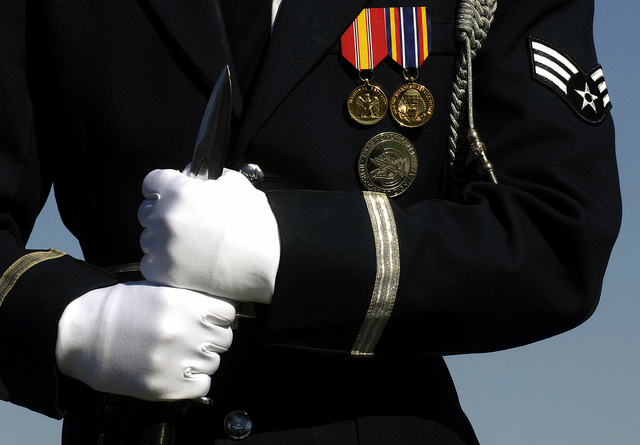 A U.S. Air Force honor guard stands at ease during the dedication ceremony of the U.S. Air Force Memorial, at Arlington, Va., on Oct. 14, 2006.(Defense Dept. official photo by U.S. Air Force STAFF SGT. D. Myles Cullen) (Released)