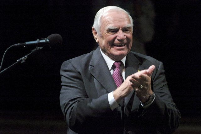 "U.S. Navy veteran and Academy Award winning actor Ernest Borgnine applauds after a performance by the U.S. Navy Band at a special concert celebrating the 231st birthday of the U.S. Navy at Daughters of the American Revolution (DAR) Constitution Hall. The concert, hosted by Adm. Mike Mullen CHIEF of Naval Operations (CNO) and narrated by Navy veteran and Academy Award winning actor Ernest Borgnine, was a special salute to Navy shipmates from the post WWII era entitled""I am an American Sailor.""(U.S. Navy PHOTO by Mass Communication SPECIALIST 1ST Class Chad J. McNeeley) (Released)"