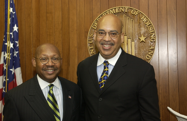 Secretary Alphonso Jackson with Pastor Jonathan Weaver - Secretary Alphonso Jackson meeting with Reverend Jonathan Weaver, [Pastor of the Greater Mt. Nebo African Methodist Episcopal Church in Bowie, Maryland], at HUD Headquarters