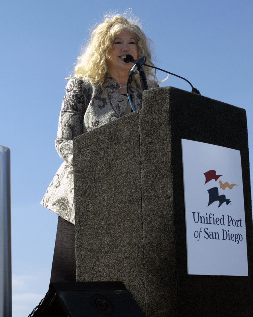 Actress Connie Stevens speaks at a memorial ceremony on Oct. 25, 2006, in honor of actor and entertainer Bob Hope at the Port of San Diego's 'G' Street Mole, where a sculpture of Hope will be placed. The memorial will include a statue of Hope entertaining service members, which the actor had a long history of doing throughout his career. (U.S. Navy PHOTO by Mass Communication SPECIALIST SEAMAN Orlando Ramos) (Released)