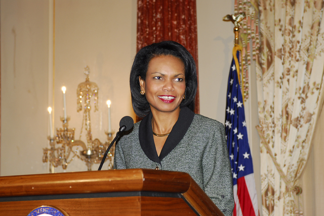 [Assignment: 59-CF-DS-32106-06] Event hosted by Secretary Condoleezza Rice in the Benjamin Franklin Room, marking the launch of the Ralph Bunche Societies Initiative... [Photographer: Ann Thomas--State] [59-CF-DS-32106-06_Dr_Rice_fromPSD.jpg]
