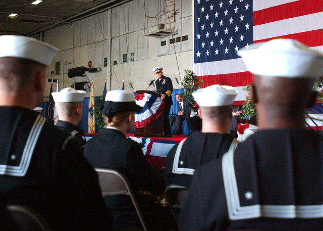 U.S. Navy Adm. John B. Nathman speaks at a Ceremony held for the dis-establishment of the U.S. Atlantic Fleet and Fleet Forces Command at Naval Station Norfolk, Va., on Oct. 31, 2006. The dis-establishment and renaming is part of a realignment of the functions of the two commands and streamlines the chain of command. Unification of the duties of the two commands in Commander, U.S. Fleet Forces Command clarifies and advances the process of providing a primary advocate and representative for Fleet personnel, training, requirements, maintenance and operational issues. (U.S. Navy PHOTO by Mass Communication SPECIALIST 3rd Class Michael Cole) (Released)